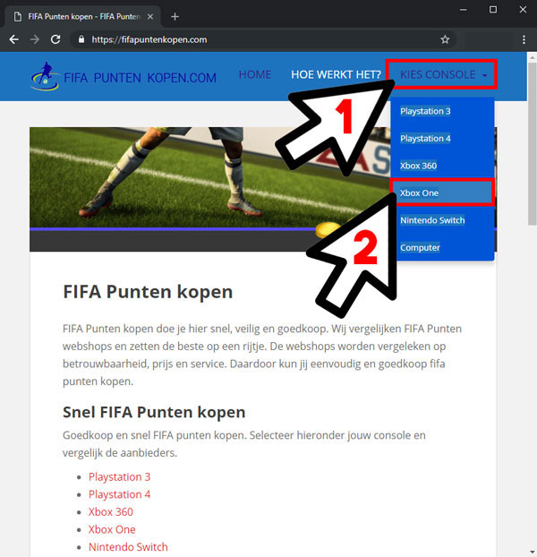 FIFA Ultimate Team Console kiezen